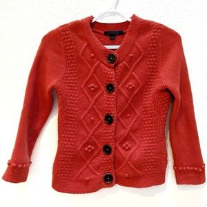 Boden orange wool button down cardigan. Sz 8.